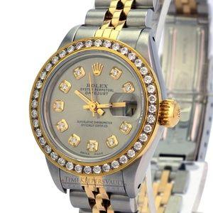 Rolex Lady Grey Diamond Dial Diamond Bezel Watch